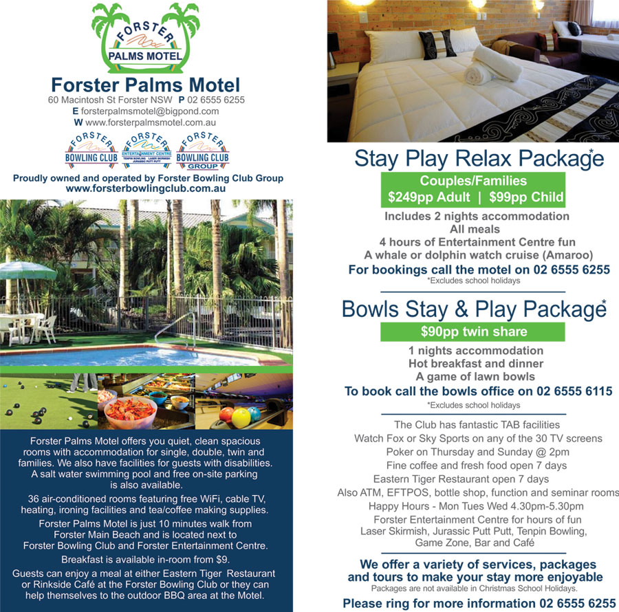 FORSTER PALMS MOTEL - Stay Play Relax Package